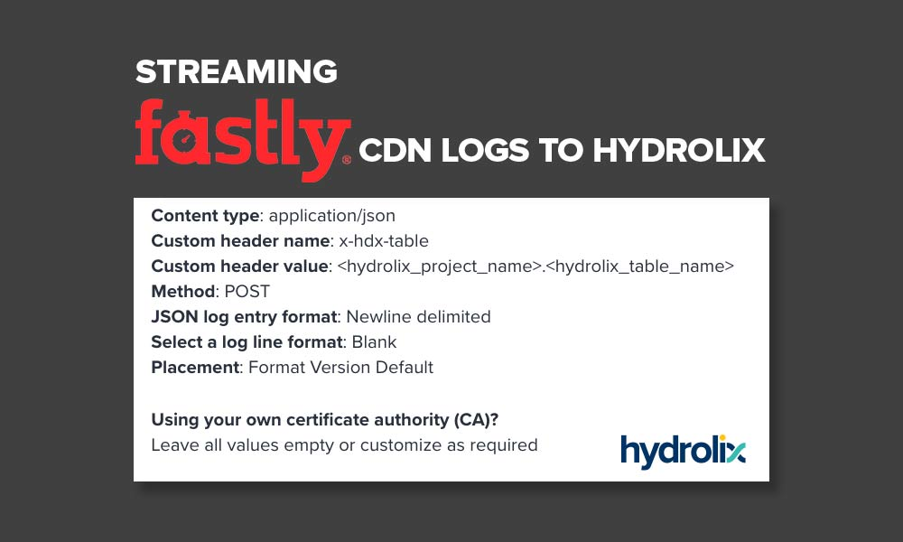 Streaming Fastly CDN Logs to Hydrolix